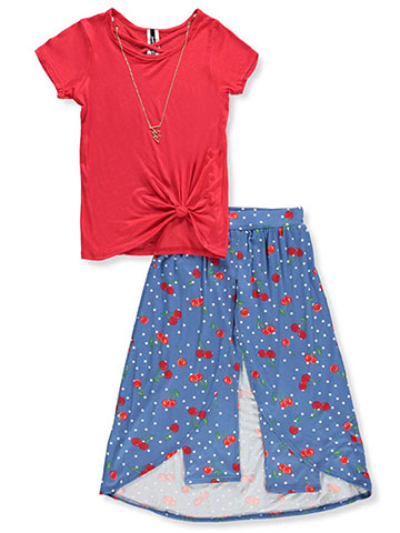 Insta Girl Girls' 2-Piece Pants Set Outfit with Necklace - CookiesKids.com