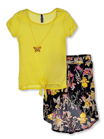 Insta Girl Girls' 2-Piece Walk-Thru Skirt Set Outfit with Necklace - CookiesKids.com