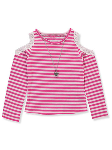 Dream Star Girls' Cold Shoulder Top with Necklace - CookiesKids.com