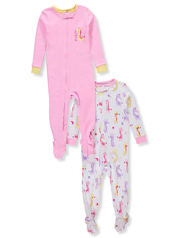 Peas & Carrots Baby Girls' 2-Pack 1-Piece Footed Pajamas - CookiesKids.com