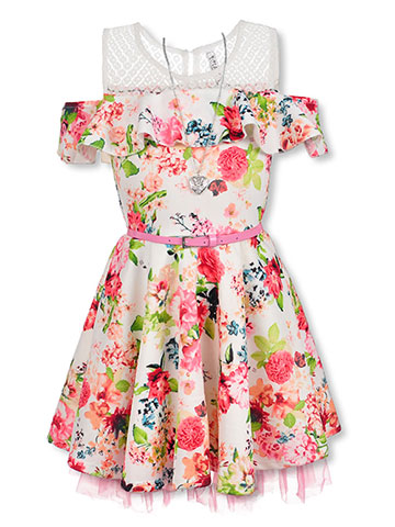 58db5038a4e6 Beautees Girls' Cold Shoulder Dress with Accessories - CookiesKids.com
