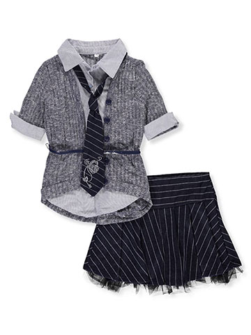 Beautees Girls' 3-Piece Skirt Set Outfit with Tie - CookiesKids.com