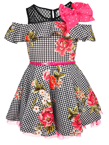 Beautees Girls' Belted Cold Shoulder Dress with Hair Clip - CookiesKids.com