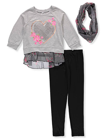 Beautees Girls' 2-Piece Leggings Set Outfit with Scarf - CookiesKids.com