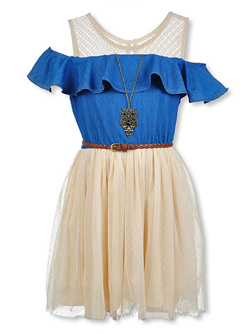 Beautees Girls' Belted Cold Shoulder Dress with Necklace - CookiesKids.com