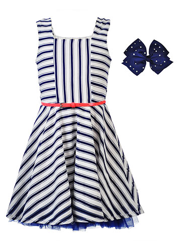 Beautees Girls' Belted Dress with Hair Clip - CookiesKids.com