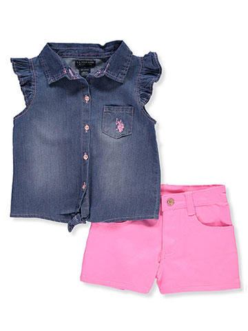 U.S. Polo Assn. Girls' 2-Piece Short Set Outfit - CookiesKids.com