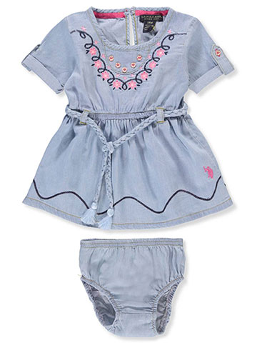 U.S. Polo Assn. Baby Girls' Belted Dress with Diaper Cover - CookiesKids.com