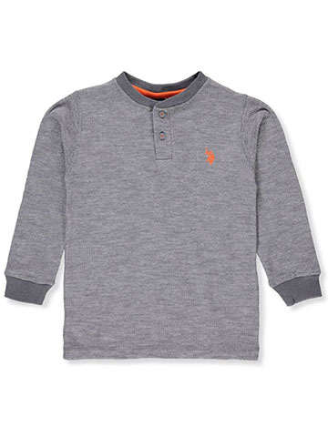 U.S. Polo Assn. Boys' L/S Thermal Henley Top - CookiesKids.com