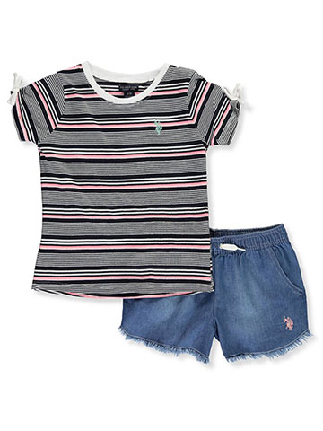 9160ef7d4 U.S. Polo Assn. Girls' 2-Piece Shorts Set Outfit