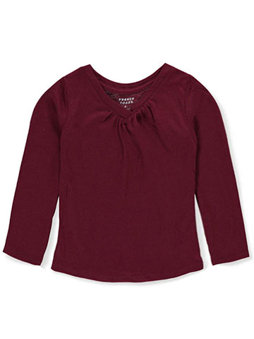French Toast Girls' Ruched V-Neck L/S T-Shirt - CookiesKids.com