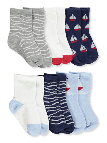 Aden Baby Boys' 6-Pack Gripper Crew Socks - CookiesKids.com