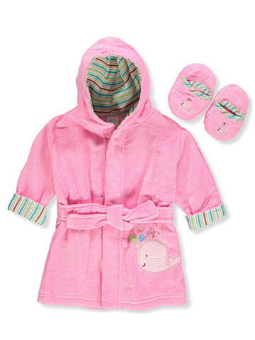 Big Oshi Baby Girls' Bathrobe & Slippers Set - CookiesKids.com