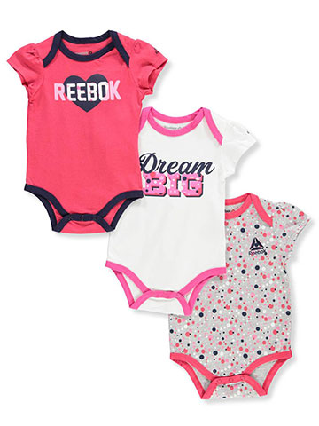 Reebok Baby Girls' 3-Pack Bodysuits - CookiesKids.com