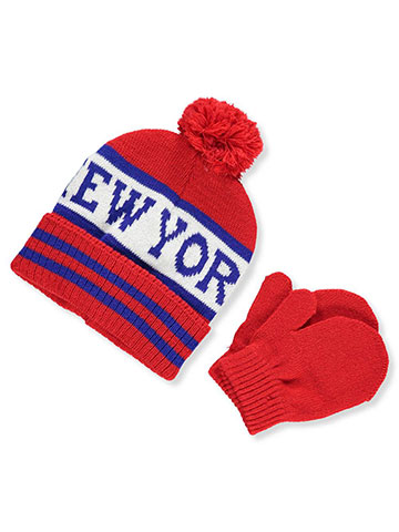 Winter Warm-Up Boys' Beanie & Mittens Set (One Size) - CookiesKids.com