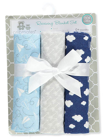 Cribmates Baby Boys' 3-Pack Receiving Blankets - CookiesKids.com