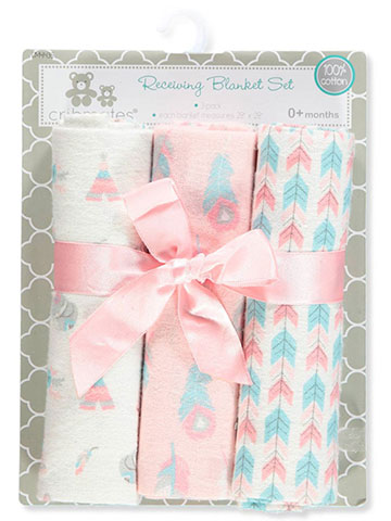 Cribmates Baby Girls' 3-Pack Receiving Blankets - CookiesKids.com