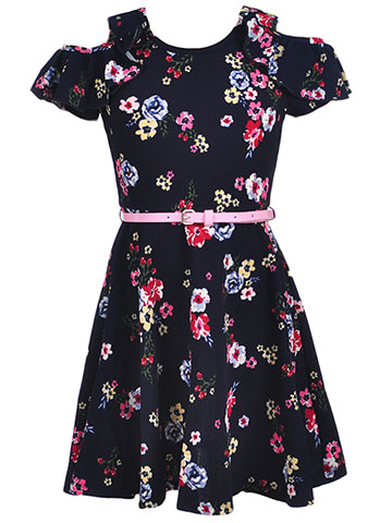 RMLA Girls' Belted Cold Shoulder Dress - CookiesKids.com