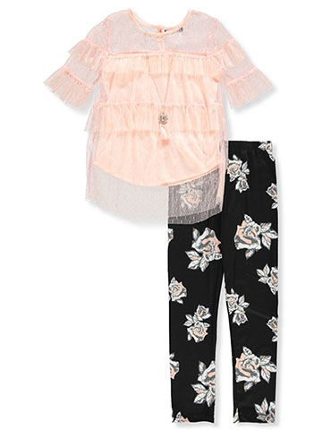 RMLA Girls' 2-Piece Leggings Set Outfit with Necklace - CookiesKids.com