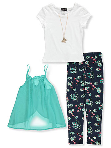 RMLA Girls' 3-Piece Leggings Set Outfit with Necklace - CookiesKids.com