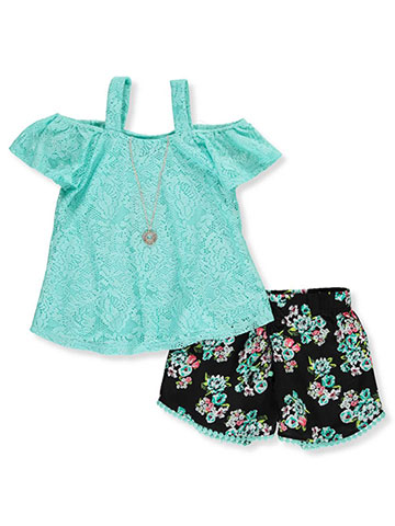 77424974e4a RMLA Girls  2-Piece Shorts Set Outfit with Necklace - CookiesKids.com