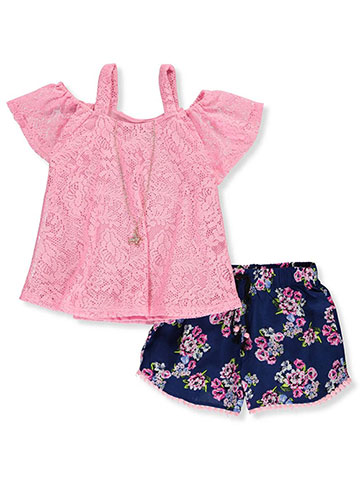 776879342d36b RMLA Girls' 2-Piece Shorts Set Outfit with Necklace