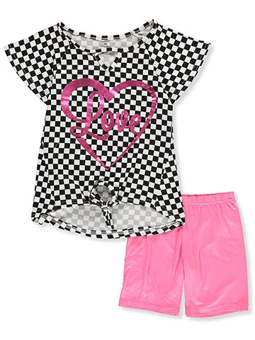 One Step Up Girls' 2-Piece Bike Shorts Set Outfit - CookiesKids.com