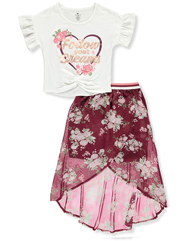 One Step Up Girls' 2-Piece Skirt Set Outfit - CookiesKids.com