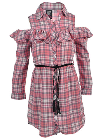 Star Ride Girls' Belted Cold Shoulder Dress - CookiesKids.com