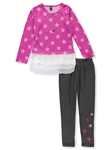 Star Ride Girls' 2-Piece Leggings Set Outfit with Necklace - CookiesKids.com