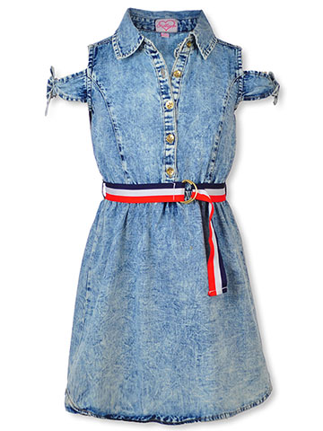 Chillipop Girls' Belted Cold Shoulder Dress - CookiesKids.com
